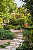 Garden path made from gravel and stone flags and steps in lushly planted garden