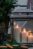 Lantern with burning candles