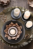 Tealight in handmade brown paper artichoke flower