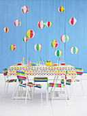 A table laid for a children's party