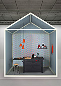Creative idea for kitchen area with black sink unit against blue-and-red wallpaper