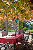 Table with red tablecloth and wooden chairs below chair with autumn foliage