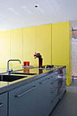 Modern kitchen counter and yellow floor-to-ceiling cupboards in architect-designed house
