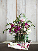 Flower arrangement decorated with vintage spoons