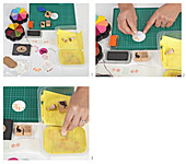 Stamping tags with Easter motifs
