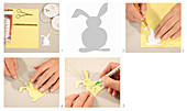 Instructions for making paper Easter bunny name tag