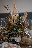 Arrangement of dried flowers on wedding table