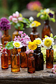 Buttercup, wildflower, lilac and hawthorn flowers in brown bottles