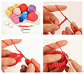 Instructions for crocheting a tealight holder from red yarn