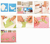 Instructions for making tablecloth with appliqué nesting boxes and birds