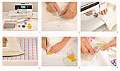 Anleitung für eine Tischdecke mit applizierten Eiern und Eierbechern