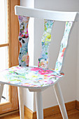 Redesign: wooden chair covered with floral wallpaper