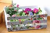 Springlike wooden crate covered with floral wallpaper remnants