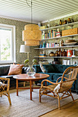 Vintage-style accessories on shelves in cosy living room