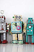 Colourful clockwork toy robots