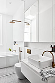 White modern bathroom with glass wall between toilet and shower