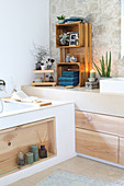 DIY wooden accessories in modern, country-house-style bathroom
