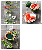 Summer flower arrangement in hollowed-out watermelon