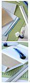 Notizbuch wird mit Papier eingeschlagen