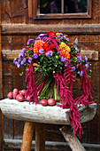 Autumn bouquet of dahlias, Michaelmas daisies and amaranth