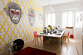 Decorative wallpaper with ape motif in office