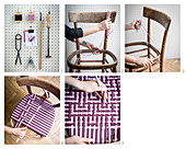 Instructions for repairing old chair with handmade woven seat