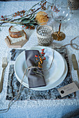 Festive place setting with place mat made from tree bark