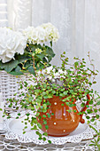 Jug with pohuehue and lilac flowers, white hydrangea in a basket