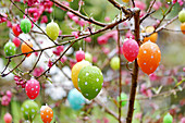 Ornamental peach tree decorated with Easter eggs