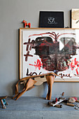 Modern painting and leather artwork