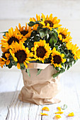 Sunflowers in paper bag