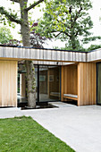 Modern architect-designed house with integrated tree