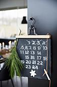 Warten auf Weihnachten: schwarze Tafel mit Zahlen