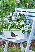 White-flowering plants planted in wooden basket as wedding present
