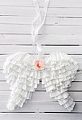 Angel wings made from white coffee filters