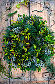 Mixed wreath of pine, spruce, mistletoe and clematis