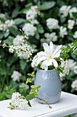 White flowers of star magnolia, sloe, hydrangea, and hawthorn