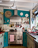 Retro furniture and vintage-style accessories in small kitchen