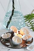 Handmade tealights in egg shells