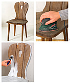 Instructions for sanding and renovating an old farmhouse chair in shabby-chic style
