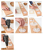 Instructions for making a row of pegs from old board, doilies and corks