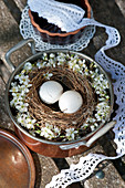 Easter eggs in wreath with blackthorn blossom