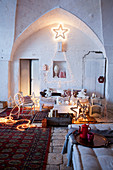 Festively decorated interior of rustic Italian country house