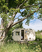 Old caravan below tree in summery meadow