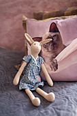 Handmade cloth rabbit in front of scatter cushion with cat motif