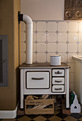 Old wood-burning stove in kitchen