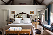 Classic bedroom in English style with ensuite bathroom