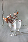 Dried flowers in wine glasses