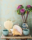 Arrangement of ornamental cabbages, seashells and beakers