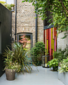 Potted plants on terrace in urban courtyard gardens